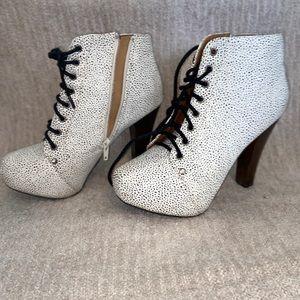 white polk a dot boot heels